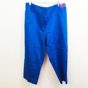 NWT! Lane Bryant Blue Sateen Capri Pants 14